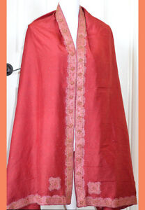 Silk-Vintage-Red-Color-Heavy-Embroidered-Long-Stole-Wrap-Dupatta-Veil