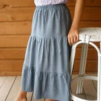 Ladies & Plus long full tiered chambray denim skirt S M L XL 1X 2X pick size