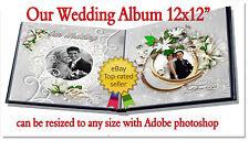 "Photoshop Wedding Digital Photo Album Templates PSD 12x12"" Our Wedding"