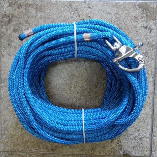 """3//8/"""" x 95 ft Royal Blue Dacron//Polyester Halyard Spliced in S//S Snap Shackle"""