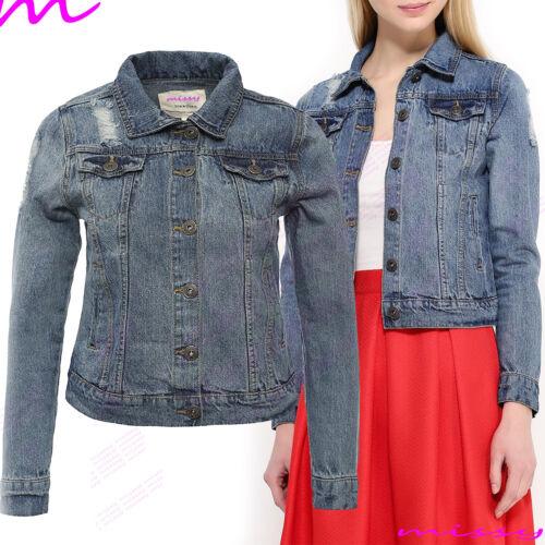 NUOVA linea donna Plus Size giacca di jeans Jean Giacche Da Donna Ritagliata Panciotto 8-24 Har