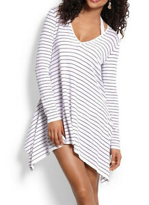 cef0f4c5a7 Tommy Bahama Pinstripe High Low Beach Sweater Coverup Tunic MED $118 ...