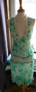 Fab 20's Great Floral Taille 16 Dress VertJaune Gatsby Floaty Doublé 100Soie hCtsdBrxQ
