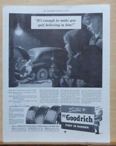 1941 magazine ad for B.F. Goodrich Tires - kids watch Santa Claus change a tire