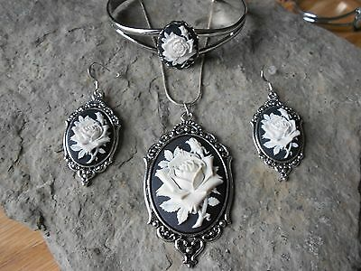 WHITE ROSE (on black) CAMEO NECKLACE. BRACELET, AND EARRINGS SET - QUALITY