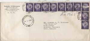 United States 1955 Pittsburgh Cancels Airmail to England  Stamps Cover Ref 23455