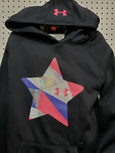 Under Armour Girls Cold Gear Loose Pullover Hoodie Youth Medium New