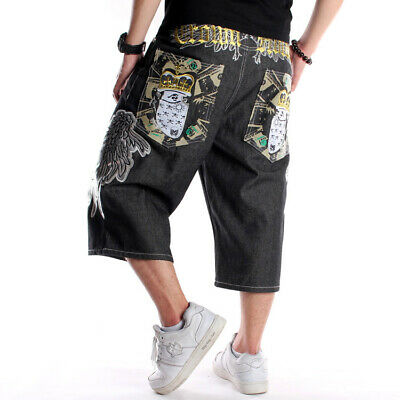 Mens Jeans Shorts Denim Capri Pants Baggy Relaxed Hip-Hop Hipster Loose W30-W46