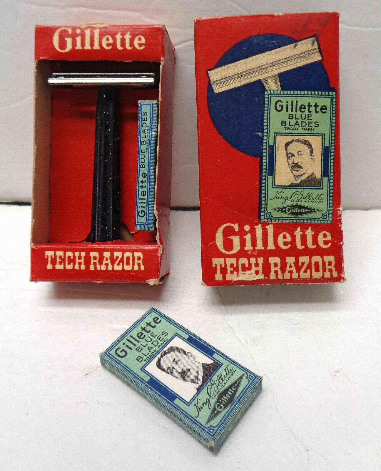 tienda en linea Vintage Tech Maquinilla Maquinilla Maquinilla De Afeitar Gillette Con Caja Original, Insert, Y Azul Blades Sellado   primera vez respuesta