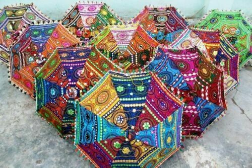 50 Pcs Wholesale Lot Indian Fashion Sun Umbrellas Vintage Parasol Embroidered