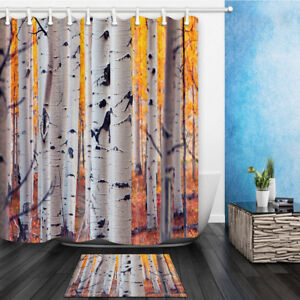 Image Is Loading Birch Tree Bathroom Home Polyester Fabric Shower Curtain