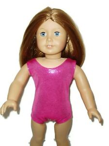 Shiny-Hot-Pink-Leotard-Fits-American-girl-dolls-18-inch-Doll-Clothes-Swimsuit