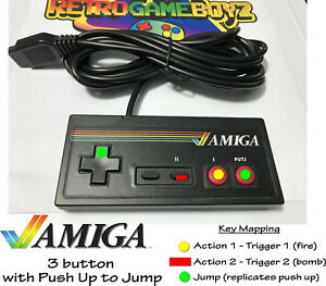 Amiga-Controller-Gamepad-Commodore-64-Atari-2600-Control-Pad-3-Button-10ft-Cord