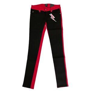 Tripp NYC Gothic Horror Punk 80s Black Red Split Skinny Jeans Pants Size 1 / 25