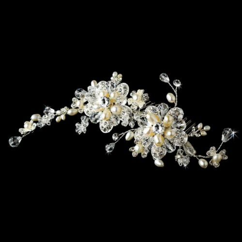 Bridal Jewelry Set w// Hair Comb Freshwater Pearl Swarovski Crystal Rhinestone