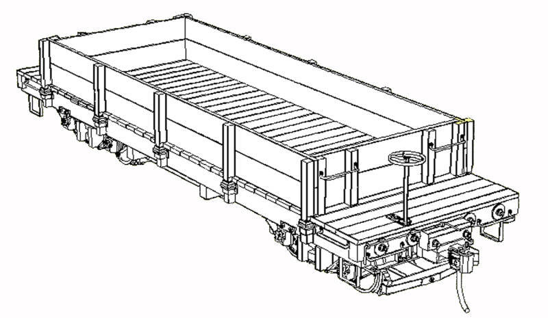 NEVADA COUNTY NG 24' FLAT CAR W  SIDE BOARDS On3 On30 Craftsman Wood Kit TC7565