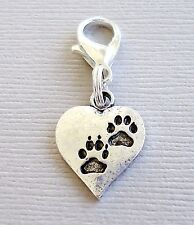 HEART Dog Paw print Clip On Charm with Lobster Clasp for Link Chain C149