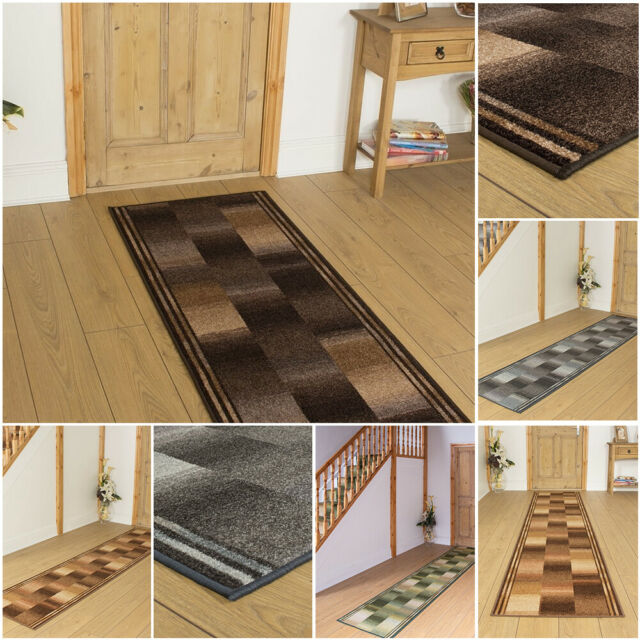 Brown Leaves Rug Runner Contemporary Floor Area Long Hallway Mat Backing 7 ft