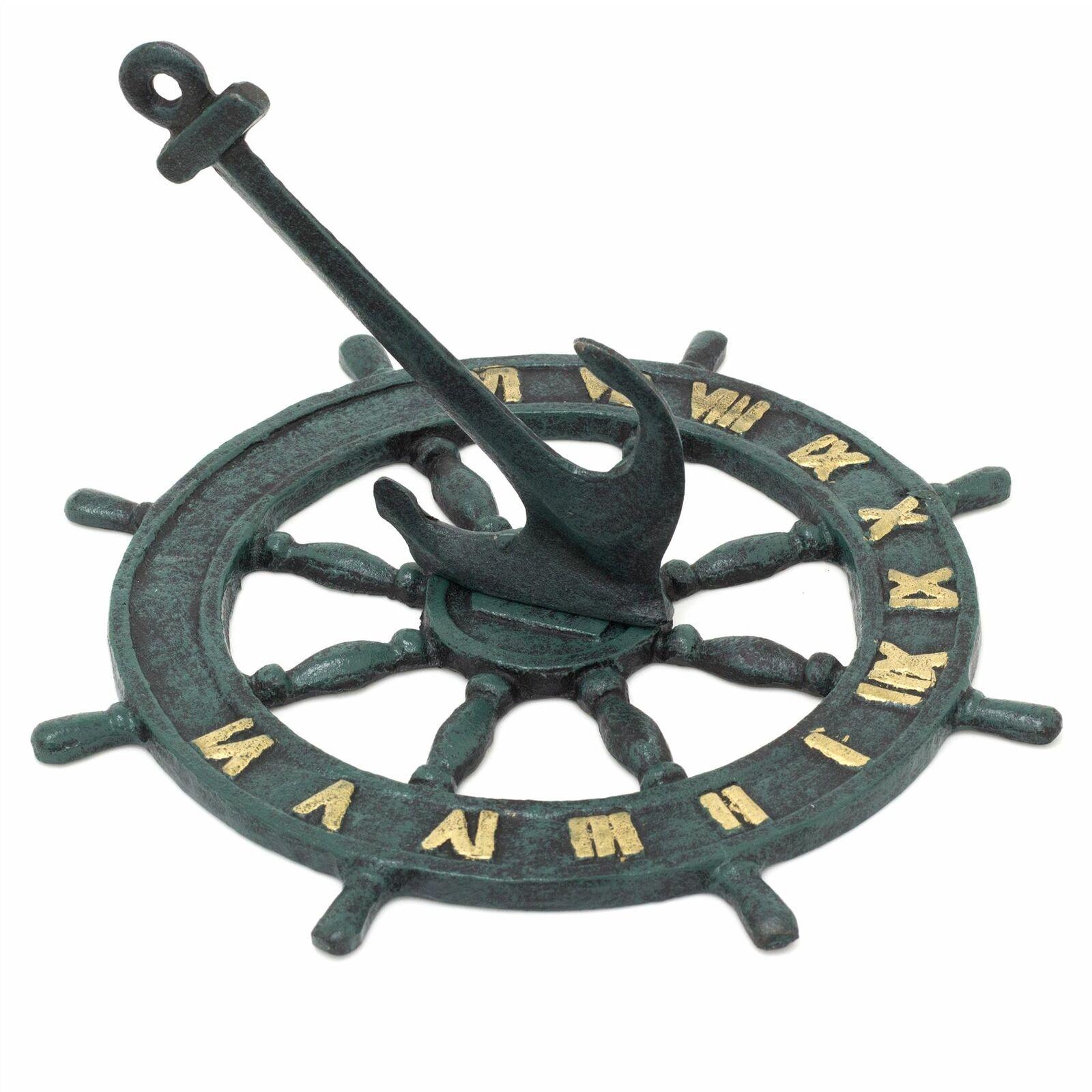 Nautical Cast Iron Garden Sundial | Sundial Ship Wheel Anchor Ornament 23cm