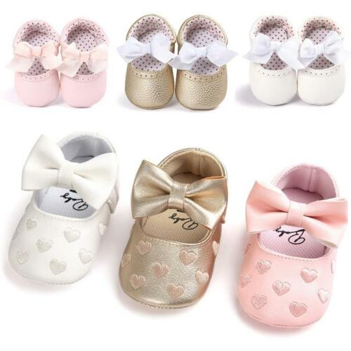 Newborn Baby Girl Soft Sole Crib Shoes Leather Sneakers Pram Anti-slip Prewalker
