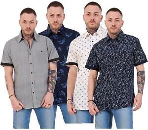 Mens-100-Cotton-Printed-Shirt-Short-Sleeve-Regular-Big-Size-Casual-Top-M-to-5XL