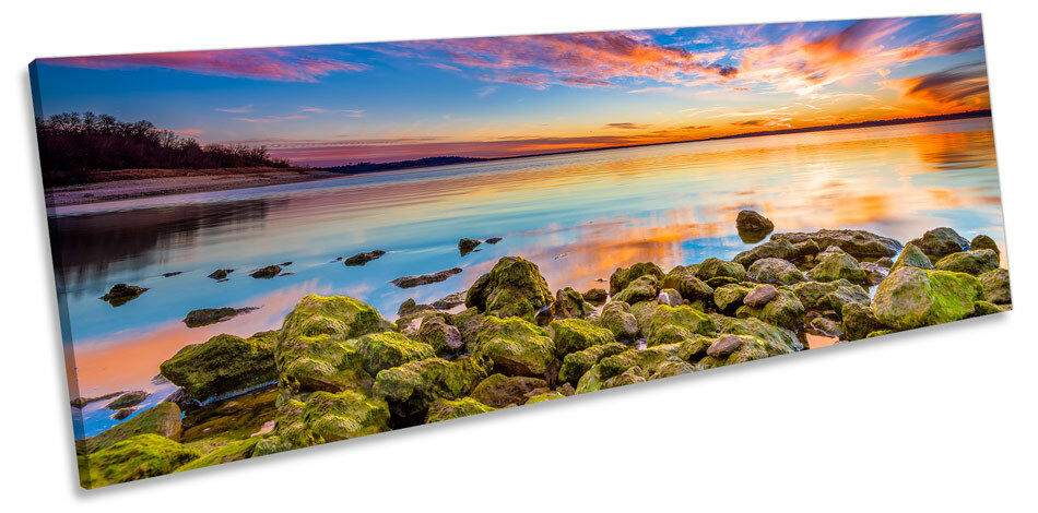 Sunset Seascape Scene Beach CANVAS Wand Kunst Panorama Framed Drucken