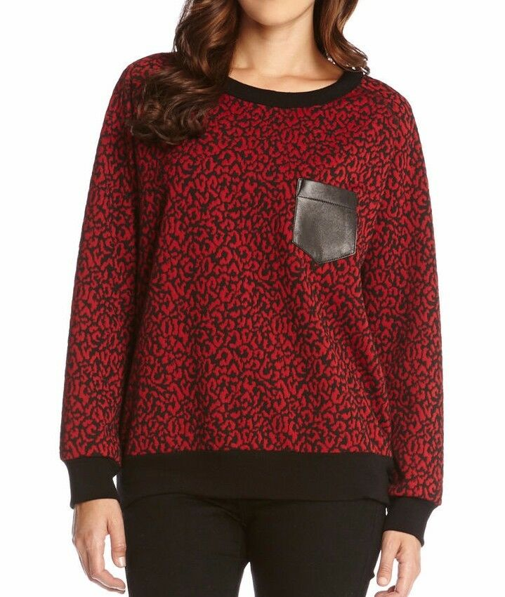 Karen Kane 4L20556  rot Leather Pocket Cheetah Sweater - MSRP  99
