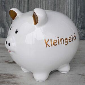 Sparschwein Kleingeld Weiss Keramik Spardose Mit Schloss Geschenk