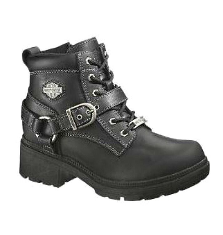 NEW Harley-Davidson® Women's TEGAN Lace-up Black Leather Motorcycle Boots D84424