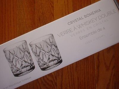 Crystal Bohemia Double Old Fashioned Whiskey Glasses Set of