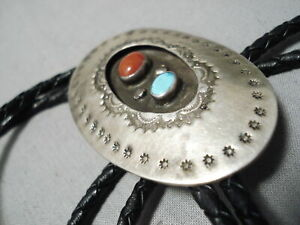 SUPERB-VINTAGE-NAVAJO-TURQUOISE-STERLING-SILVER-BOLO-TIE-OLD