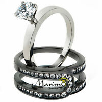 Women's Silver & Black Stainless Steel AAA CZ Wedding Ring Band Set Size 5-10