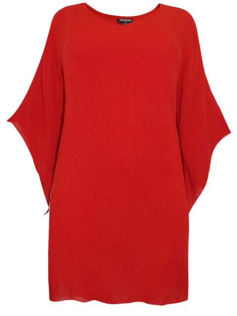 Bright Red Tunic Top with Wide Sleeves Crinkle Fabric Embroidered Hem Size 18-20