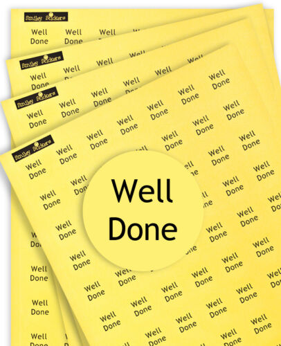 """Praise//Reward Round Yellow Labels For Teachers//Parents 700 /""""WELL DONE/"""" Stickers"""