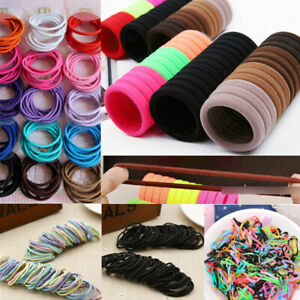 Wholesale-100PCS-Women-Girl-Elastic-Rubber-Hair-Ties-Band-Rope-Ponytail-Holder