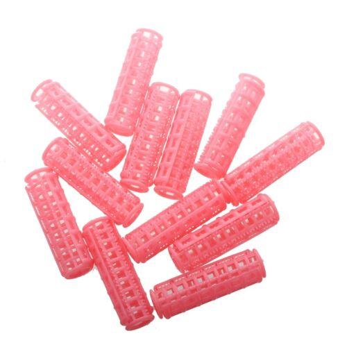 c1w 12 Stueck Rosa Kunststoff DIY Haar Lockenwickler 6.5 * 1.8 cm J3E3 2X