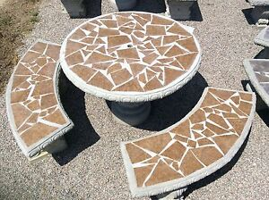 Image is loading Mosaic-Concrete-Table-Set-with-Tile-Inlay-Patio- & Mosaic Concrete Table Set with Tile Inlay Patio Furniture Outdoor ...
