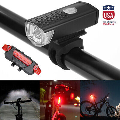 2x 4 Modes LED Tail Lamp Bike Bicycle Cycling USB Rechargeable Front Rear Light