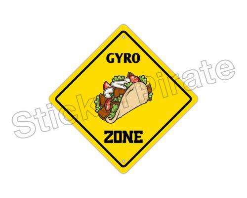 "*Aluminum* Gyro Zone Funny Metal Novelty Sign 12/""x12/"""