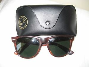 dc78be9eec VINTAGE B   L RAY BAN WAYFARER II TORTOISE SHELL SUNGLASSES MADE IN ...