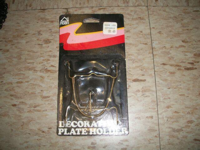 """Vintage Hoan Decorative Plate Hanger Adjustable 5""""-11"""" Display Holder Brass US"""