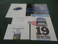 1988 1989 RENAULT 19 - 5 PART UK LAUNCH BROCHURE inc PRICES / ROAD TEST REPRINT