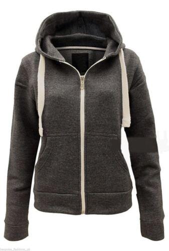 Women/'s Plain Warm Fleece Hoodie Ladies Sweatshirt Zip Up Jacket Jumper Top 8-26