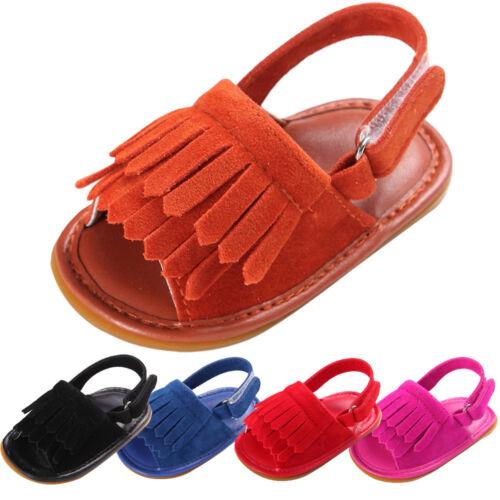 Toddler Newborn Baby Boy Girl Crib Shoes Soft Tassel Sandals Anti-slip Prewalker