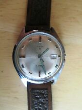 "Vtg ""Timex 21"" Man's Wristwatch, Calendar, Waterproof, 6537,7569, 21 jewels"