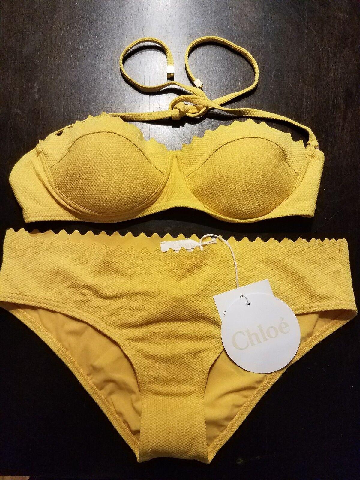 NWT Chloe Mare women Textured Yellow Scallop Pushup 2 Pc Swimsuit Bikini S 42