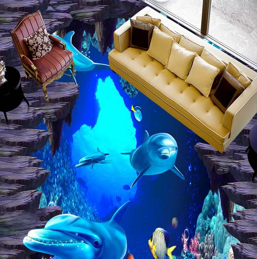 3D Deep Sea Dolphins 74 Floor WallPaper Murals Wall Print Decal AJ WALL CA Lemon