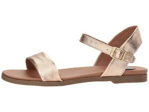 d2f8eca1915 Steve Madden DINA ROSE GOLD Women s Casual Leather Ankle Strap Flat ...