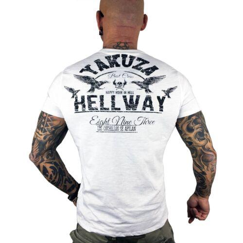 """Yakusa-T-Shirt Hommes TSB 9002 /""""hellway/"""" White Blanc"""