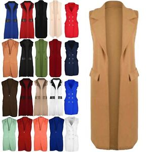 Women-Ladies-Sleeveless-Long-Duster-Coat-Collar-Waistcoat-Smart-Blazer-Plus-Size